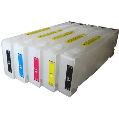 Перезаправляемые картриджи для плоттеров Epson Stylus Pro 7700, 7710, 9700, 9710. 5 шт х 700 мл с чипами и пакетом.