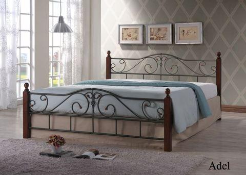 Кровать ПАОЛА ADEL двуспальная металлическая с деревянными ножками 160х200 темный орех