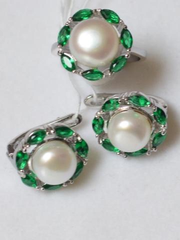 Бэтси  (кольцо + серьги из серебра)