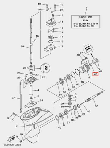 Подшипник вала винта для лодочного мотора F20 Sea-PRO (23-43)
