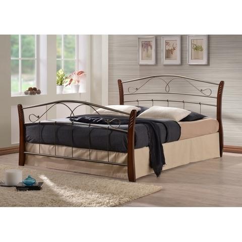 Кровать Патрисия двуспальная металлическая с деревянными ножками 160х200 темный орех