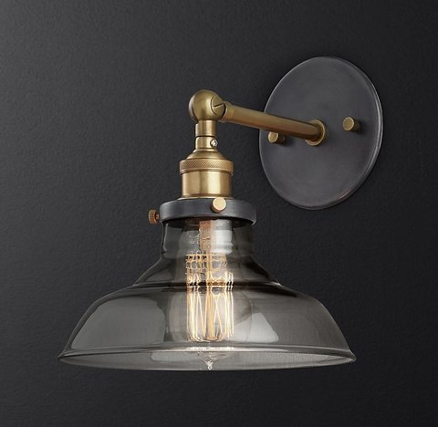 20th C. Factory Filament Smoke Glass Barn Sconce