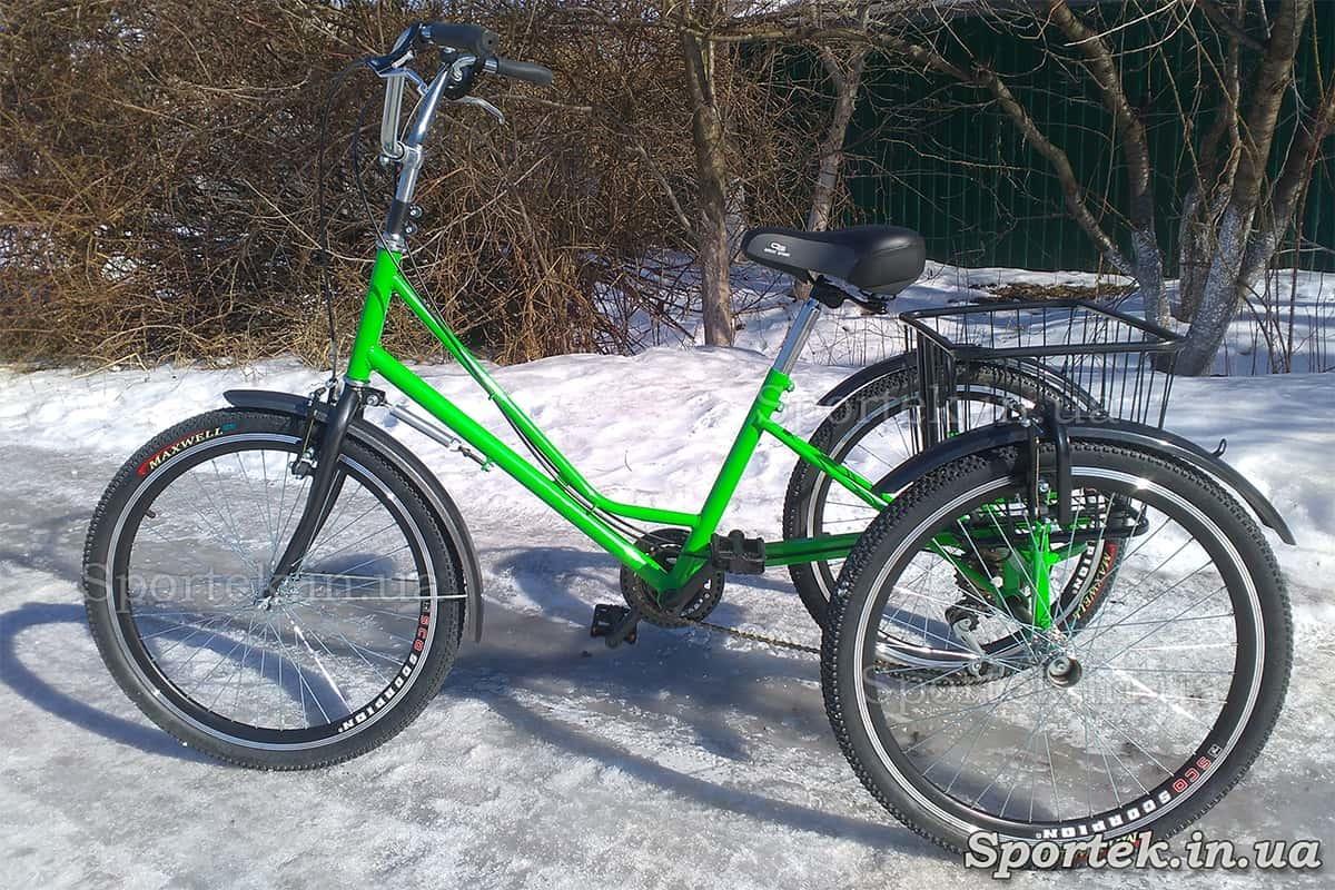 Трехколесный велосипед 'Городской с корзинкой 24' (зеленый)