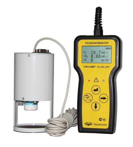 Газоанализатор переносной ОКА-92М-O2-CH4 (кислород, метан) с выносным датчиком на кабеле 6 м