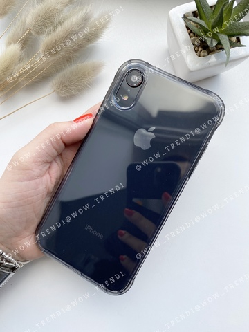 Чехол iPhone XR Simple simple angle silicone /transparent black/ 443