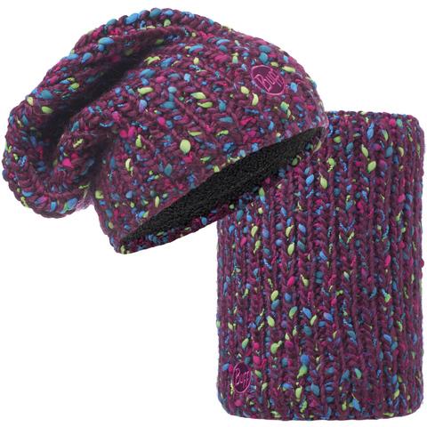 Комплект шапка шарф вязаный с флисом Buff Yssik Amaranth Purple