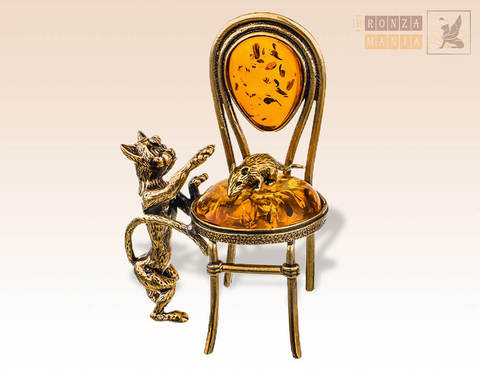 фигурка Кот и мышка на стуле