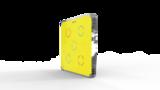 Выключатель пятиканальный Heltun (Жёлтая панель, Хромированная рамка)