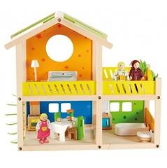 Hape Деревянный кукольный домик с мебелью и фигурками (Е3402)