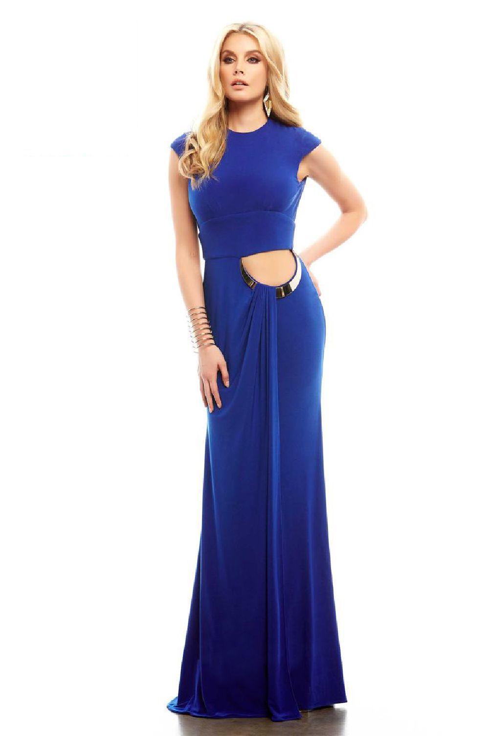 Cassandra Stone 485 Синее платье длинное, спина открыта с вырезом на поясе