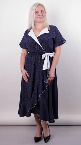 bd9f4c94700 Агата. Легкое платье для больших размеров. Горохи.