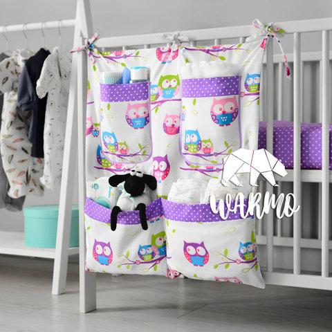 органайзер на ліжечко з фіолетовими совами фото