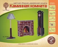 Модель деревянная сборная. Часы, лампа и камин VGA PC009