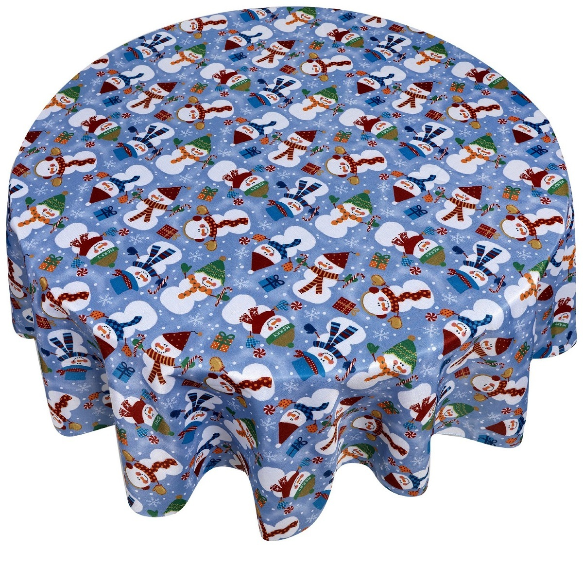Кухня Скатерть круглая 178 Carnation Home Fashions Christmas Fabric Tablecloths Snowman skatert-carnation-christmas-fabric-tablecloths-snowman-ssha-kitay.jpg
