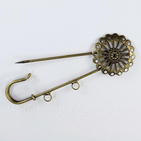 Основа для броши - булавка c филигранью и 2 петельками, 80х25 мм (цвет - античная бронза)