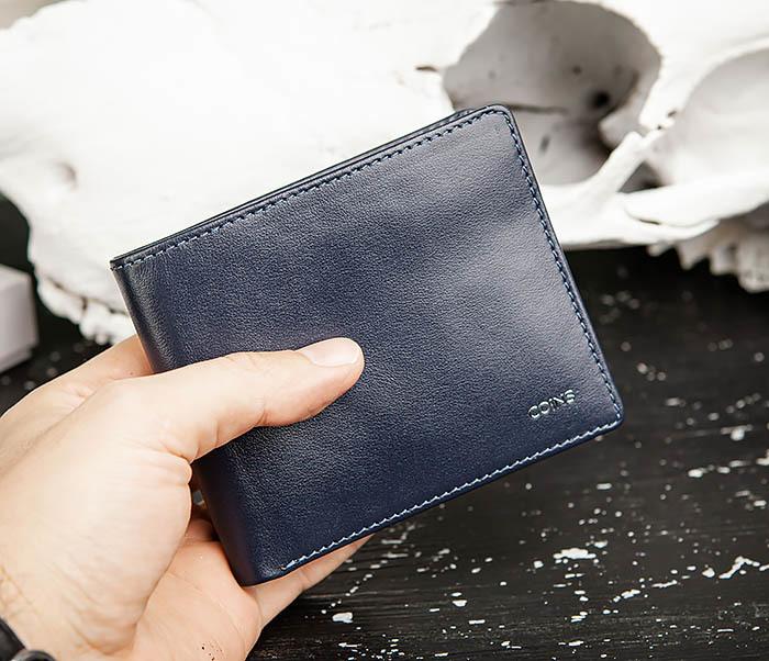 WL320-3 Классический кошелек для купюр и карт из синей кожи, «Moriz» фото 11