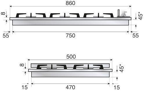 Газовая варочная панель ILVE HCB90PCN/CCC