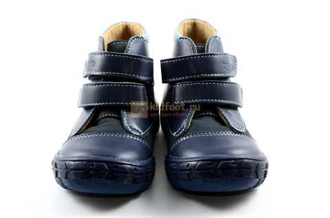 Ботинки Тотто из натуральной кожи демисезонные на байке для мальчиков, цвет темно-синий. Изображение 5 из 11.