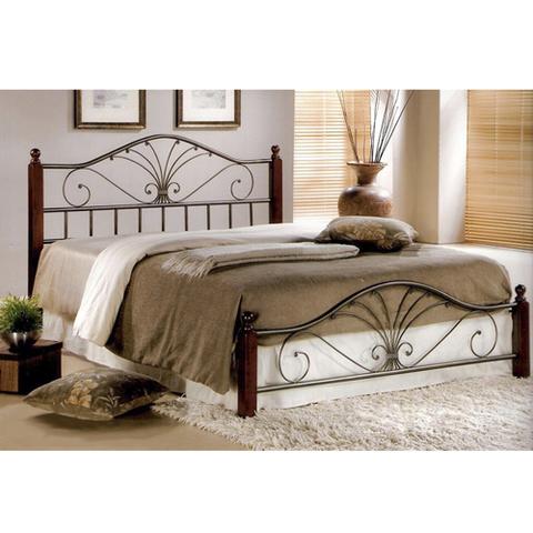 Кровать РАВЕННА двуспальная металлическая с деревянными ножками 140х200 темный орех