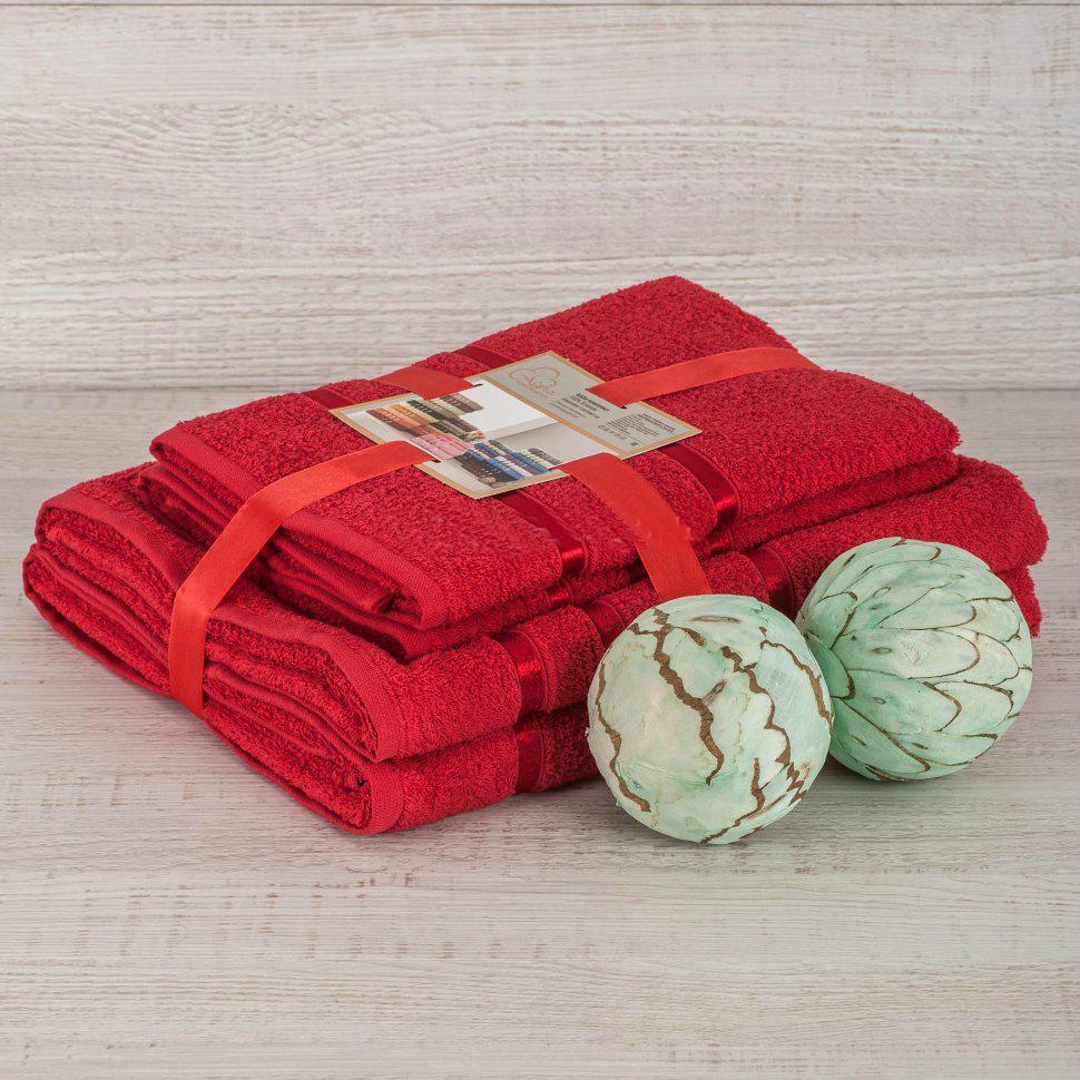 Комплект махровых полотенец 2 шт., красный