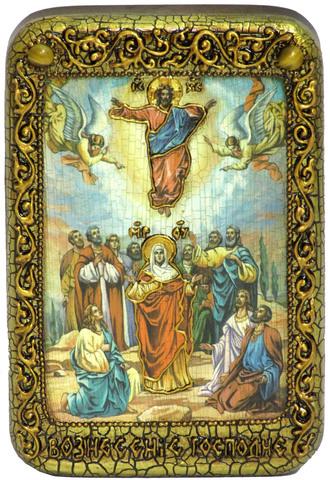 Инкрустированная икона Вознесение Господне 15х10см на натуральном дереве, в подарочной коробке