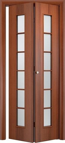 Дверь складная Верда С-12 (2 полотна), белое матовое, цвет итальянский орех, остекленная