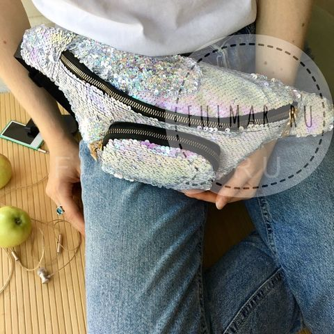 Сумка на пояс женская с пайетками меняющая цвет Перламутровый-Серебристый блестящий