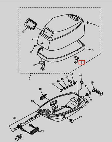 Защелка колпака для лодочного мотора T9.8 Sea-PRO (1-3)