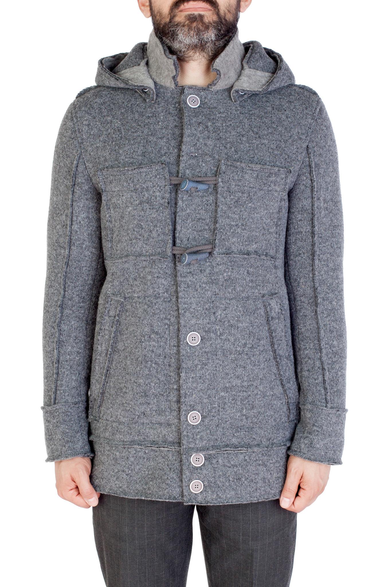 Серая трикотажная куртка с капюшоном
