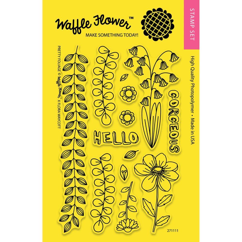 Набор штампов + НОЖИ   Waffle Flower Pretty Foliage