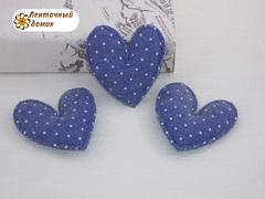 Мягкие синие в белую точку сердечки