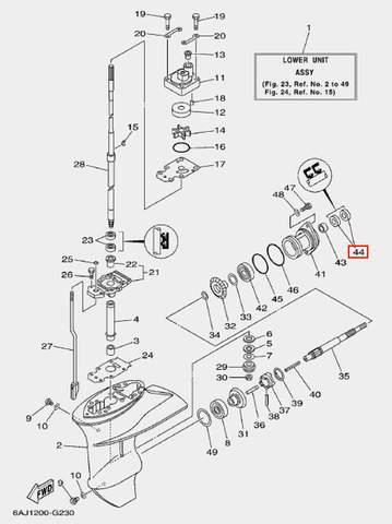 Сальник горизонтального вала для лодочного мотора F20 Sea-PRO (23-44)