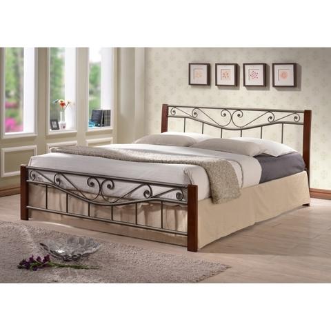 Кровать Регина двуспальная металлическая с деревянными ножками 160х200 темный орех