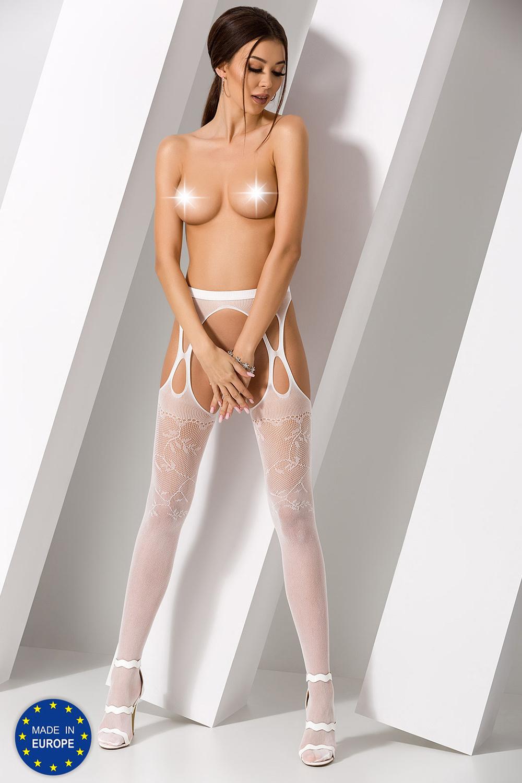 Чулки сетка с поясом белого цвета (Эротические чулки с поясом)