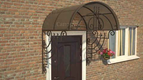 двускатный козырек с поликарбонатом над дверью