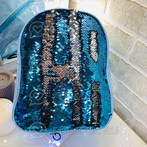 Рюкзак детский голубой с пайетками меняющий цвет Голубой-Серебристый