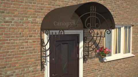 двускатный козырек с металлическим листом над дверью