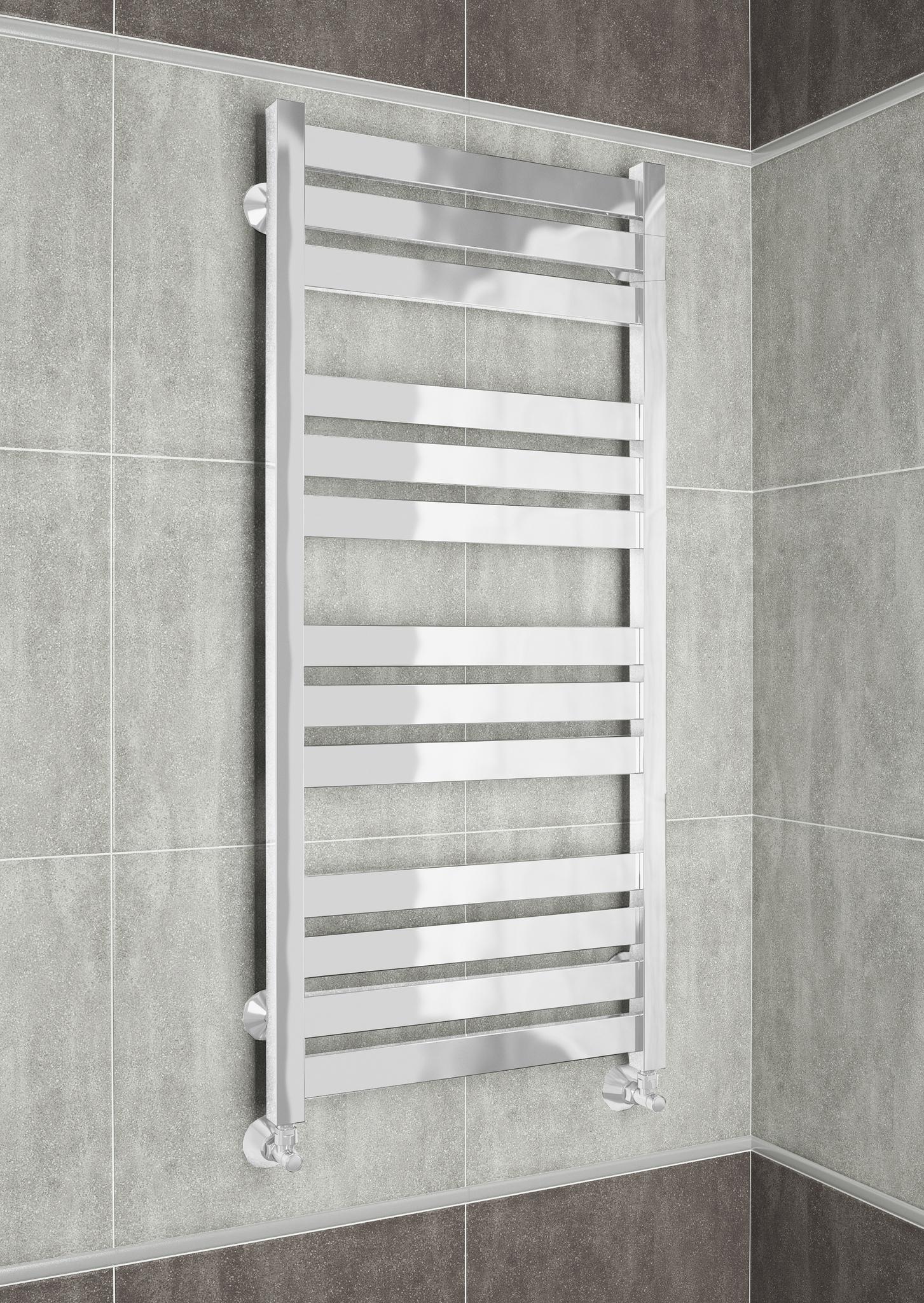 Latte White - белый дизайн полотенцесушитель с квадратными вертикалями.