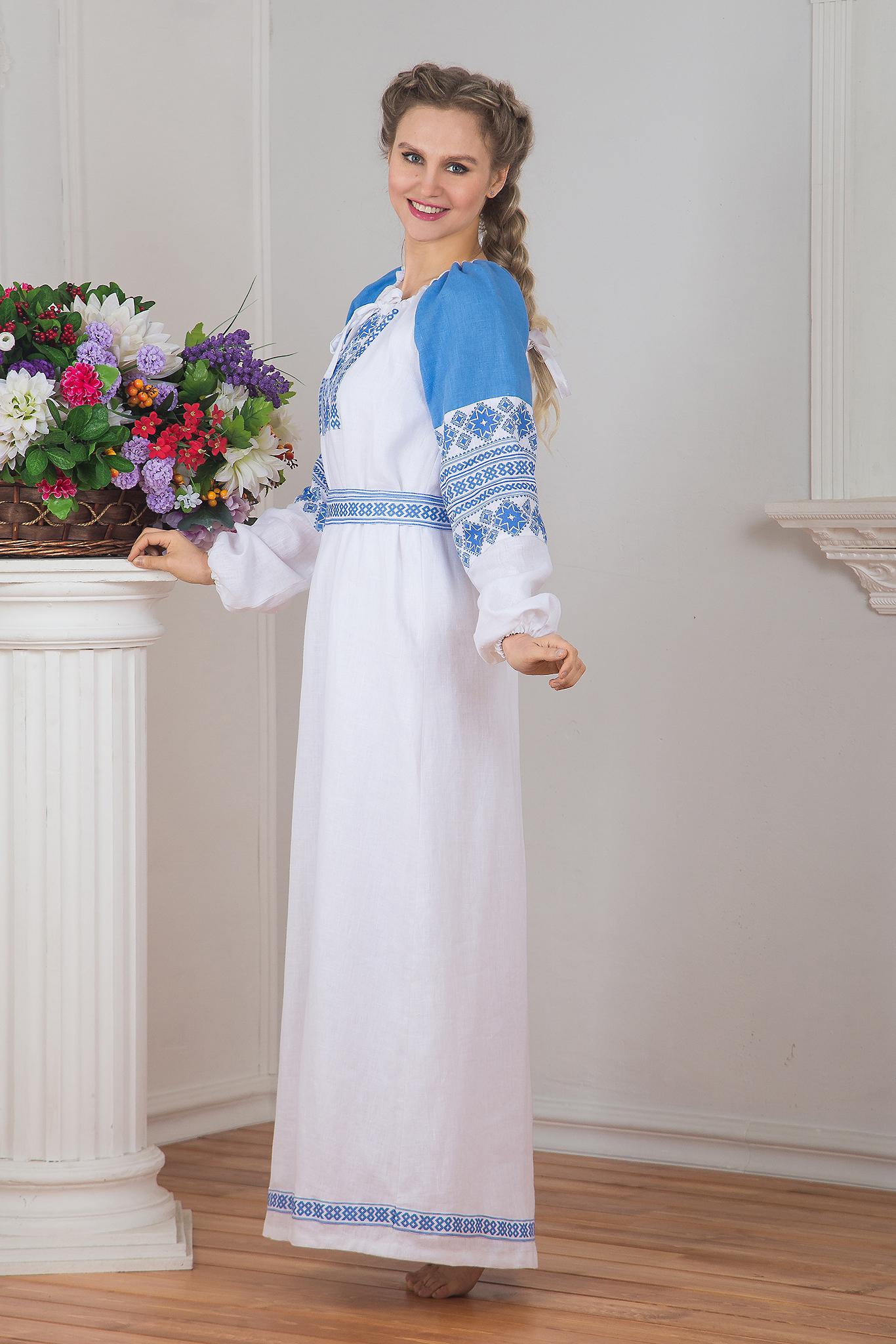 Платье Репейник счастья (белое) вид сбоку