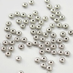Бусина металлическая - рондель 5х3 мм (цвет - античное серебро), 10 штук