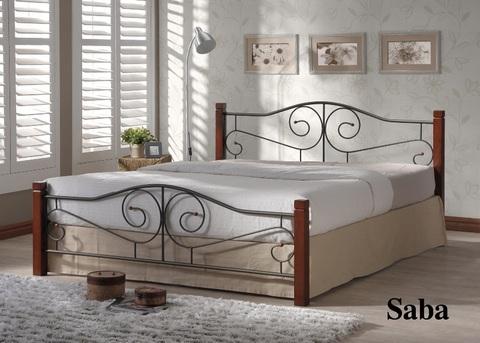 Кровать САБА двуспальная металлическая с деревянными ножками 160х200 темный орех