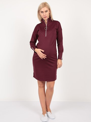 Евромама. Платье для беременных и кормящих трикотажное с молнией, бордо