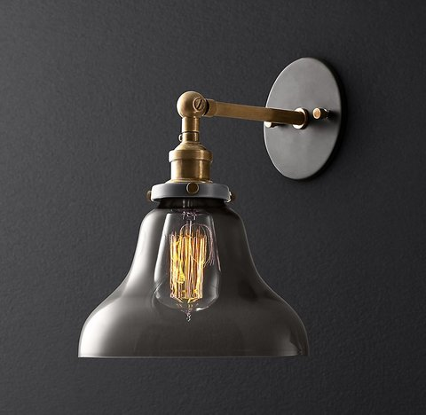 20th C. Factory Filament Smoke Glass Boulangerie Sconce