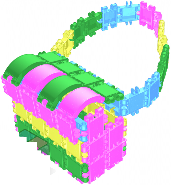 Конструктор CLICS (Кликс) «Карусель с блестками» содержит полукруглые детали новой формы.