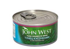 Тунец кусочками в собственном соку John West, 185г
