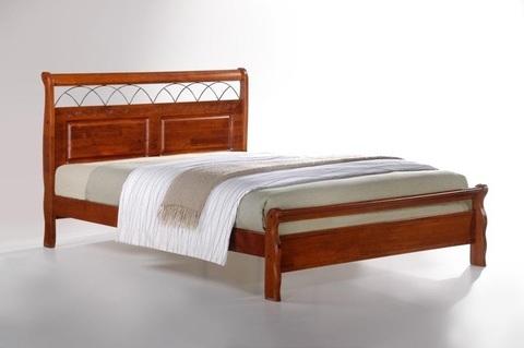 Кровать САТУРН LF двуспальная деревянная 160х200 майер браун