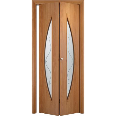 Складная дверь Парус миланский орех со стеклом (фьюзинг)