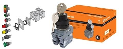 Переключатель с ключом на 2 положения с фиксацией M2SSК1-102 в сборе d22мм 1з+1р черный TDM