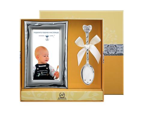 Набор детский «Сердце с цветами» рамка+ложка 2пр.