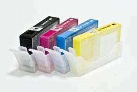 Комплект заправляемых нано-картриджей HP №655 с чипами. Включает 4 пустых картриджа CZ109AE, CZ110AE, CZ111AE, CZ112AE. Для принтеров HP Deskjet Ink Advantage 3525, 3625, 4615, 4625, 5525, 6525.